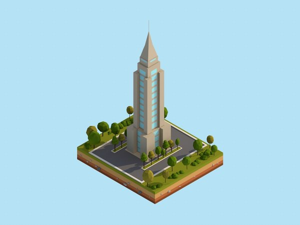 3D cartoon empire state building