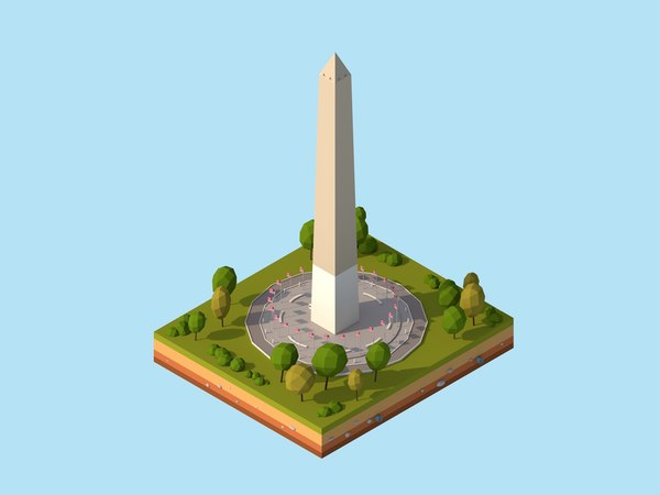 3D cartoon usa washington monument model