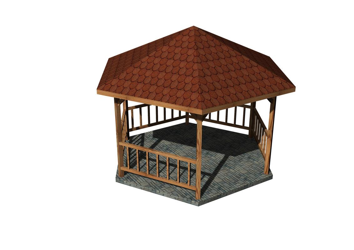 3D wooden gazebo model