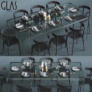 3D glass table set glas model