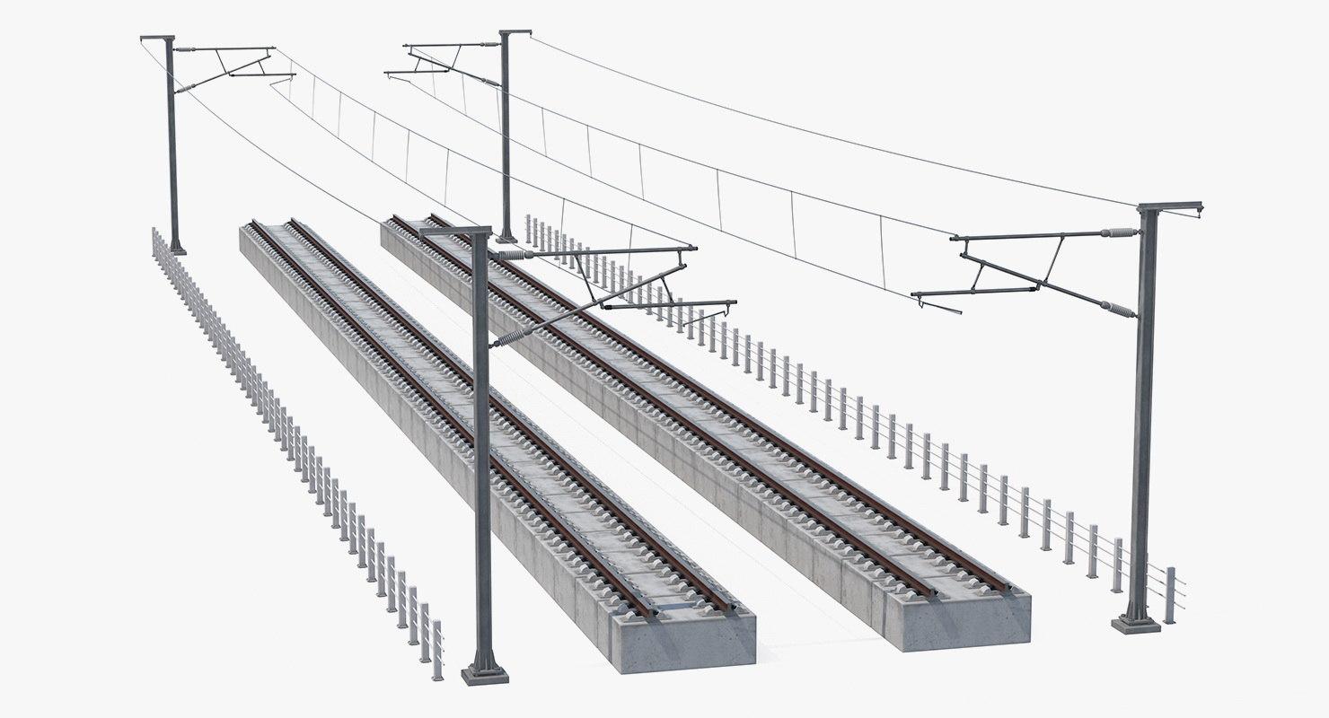 direct railway section rail 3D model