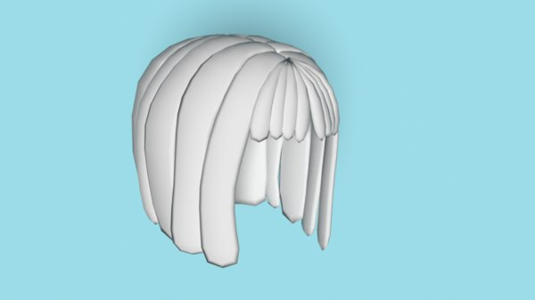 low-poly hair 3D model