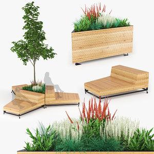 3D grass tree plant model