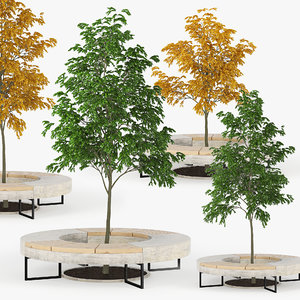 3D tree flowerbed green yellow