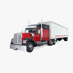3D w990 truck semi trailer