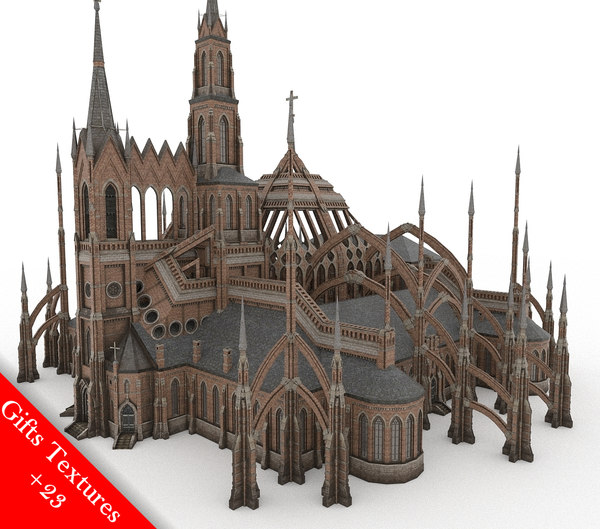 3D gothic cathedral 01 model