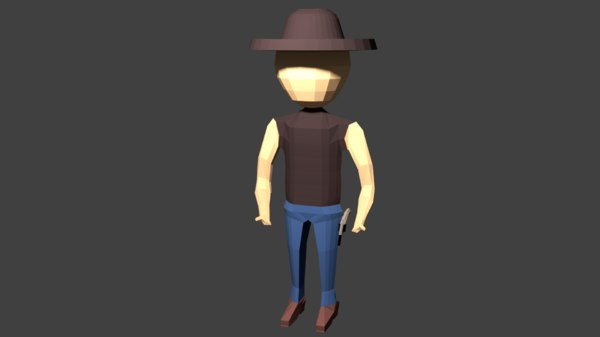 3D cowboy rigged animation
