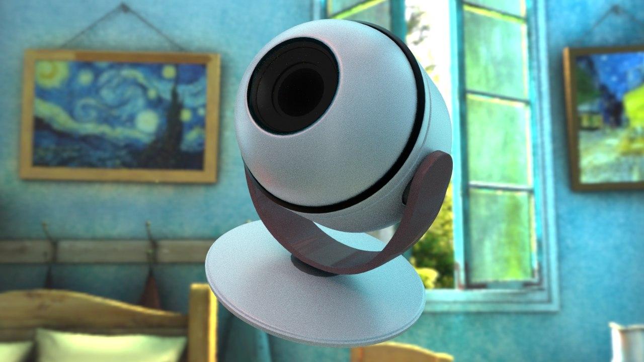 3D earphone shaped indoor security camera