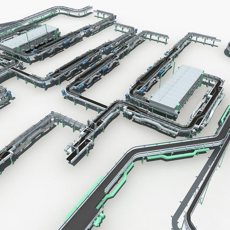 3D model conveyor warehouse industrial
