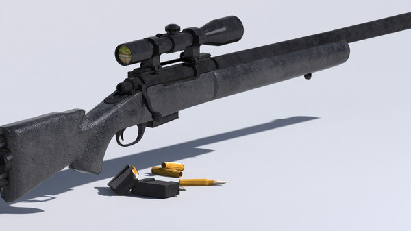 3D m24 sniper rifle low-poly model