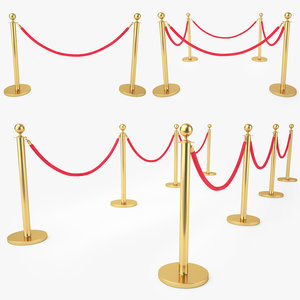 3D red velvet rope stanchion