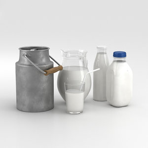 3D milk bottles set