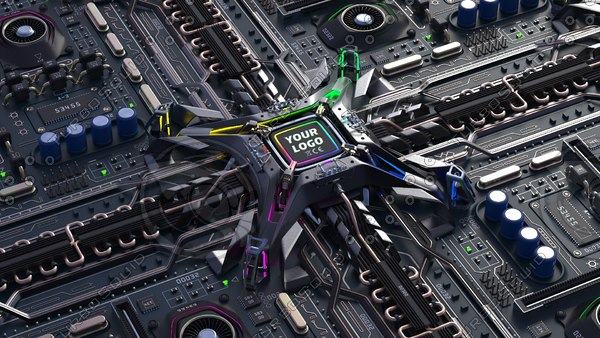 3D cpu motherboard model