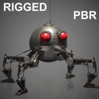rigged spider dwarf droid 3D
