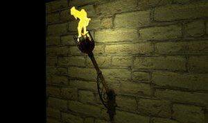 medieval wooden torch 3D