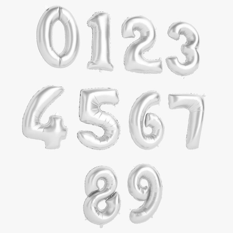 foil balloon number 3D
