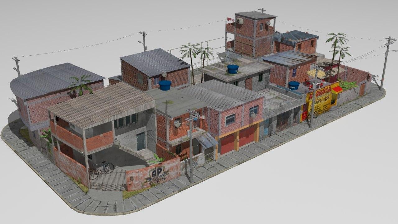 favela houses football 3D model