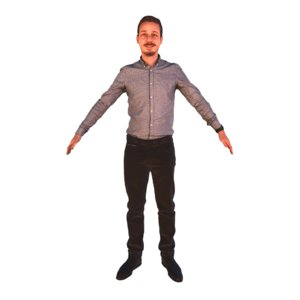 3D scanned pose t-pose a-pose model