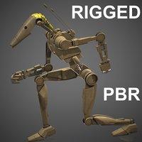 battle droid rigged 3D