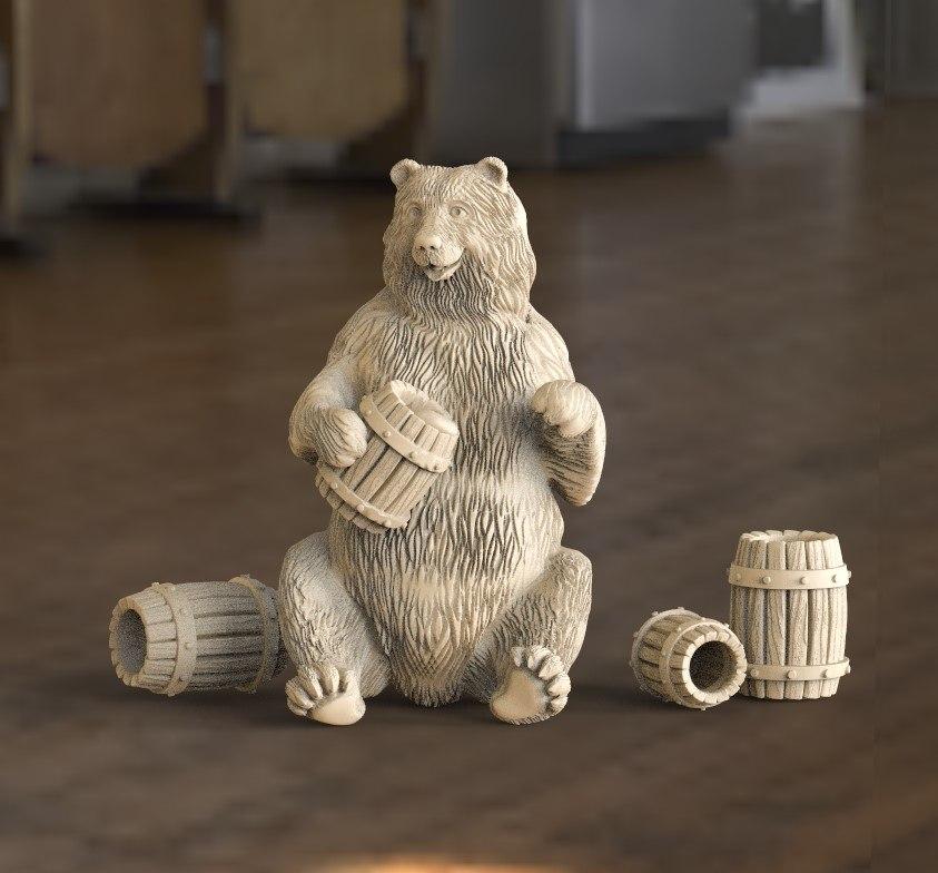 3D bear barrels honey
