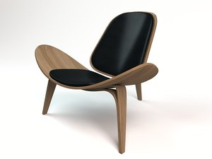 3D modern shell chair carl