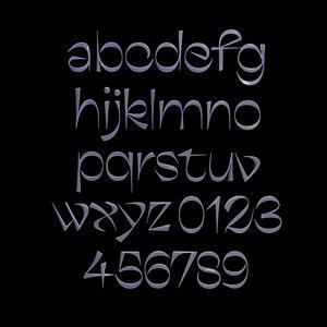 3D model frivole typeface