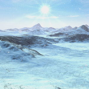 3D snow mountain range terrain landscape