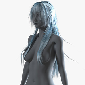 realistical long anime hairstyle 3D model