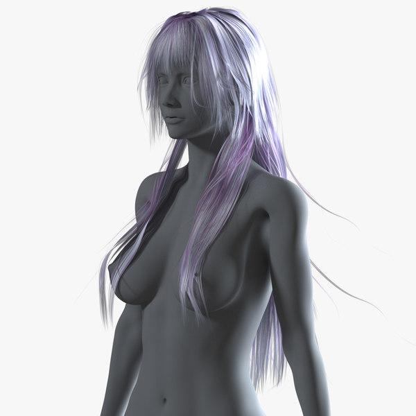 3D model realistical long anime woman