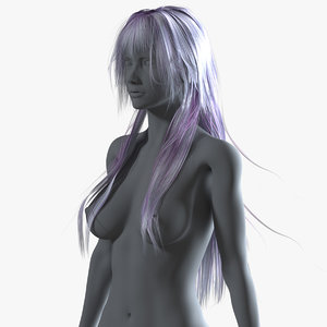 3D model realistical long anime woman