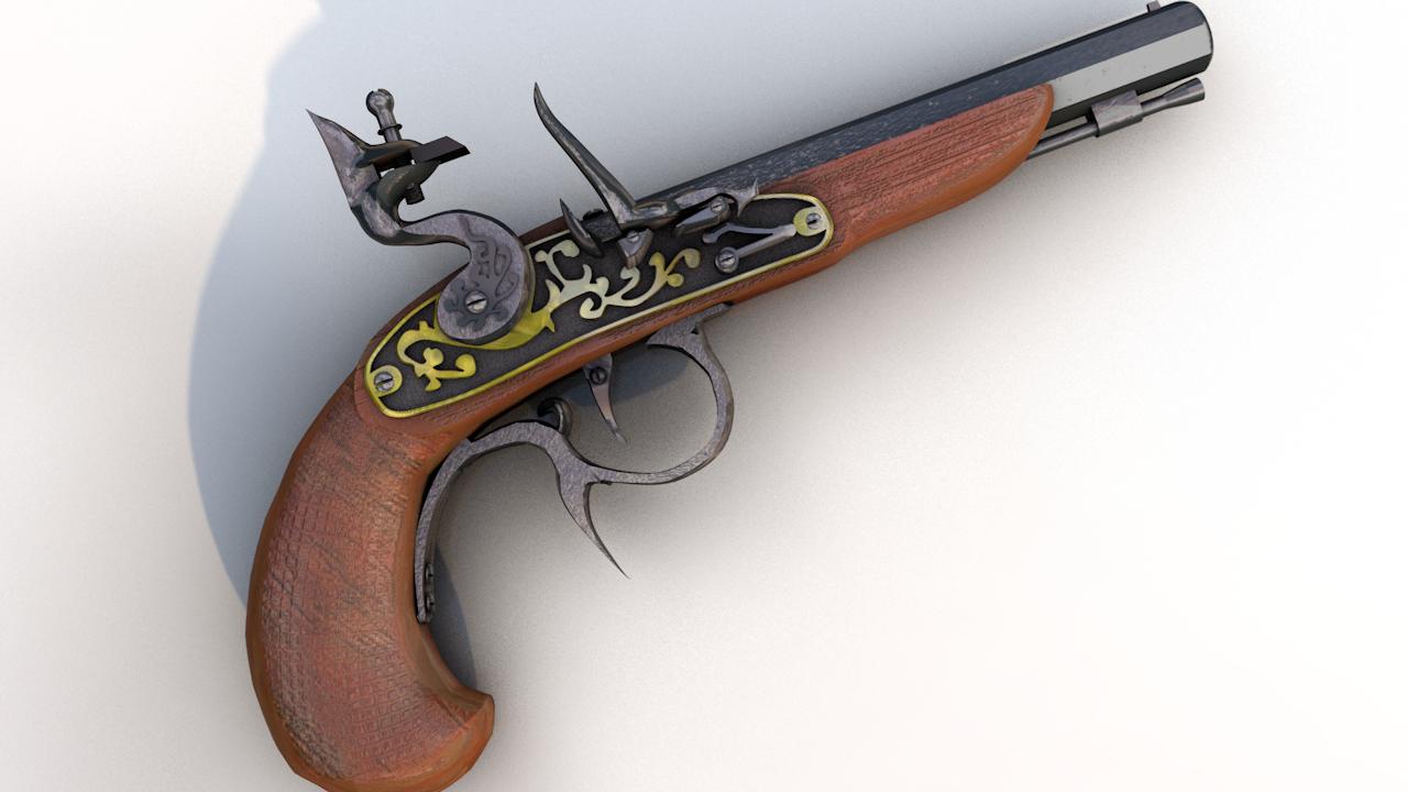 3D buccaneer flintlock antique pistol