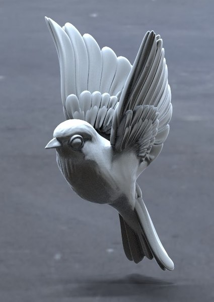 3D model wings feathers