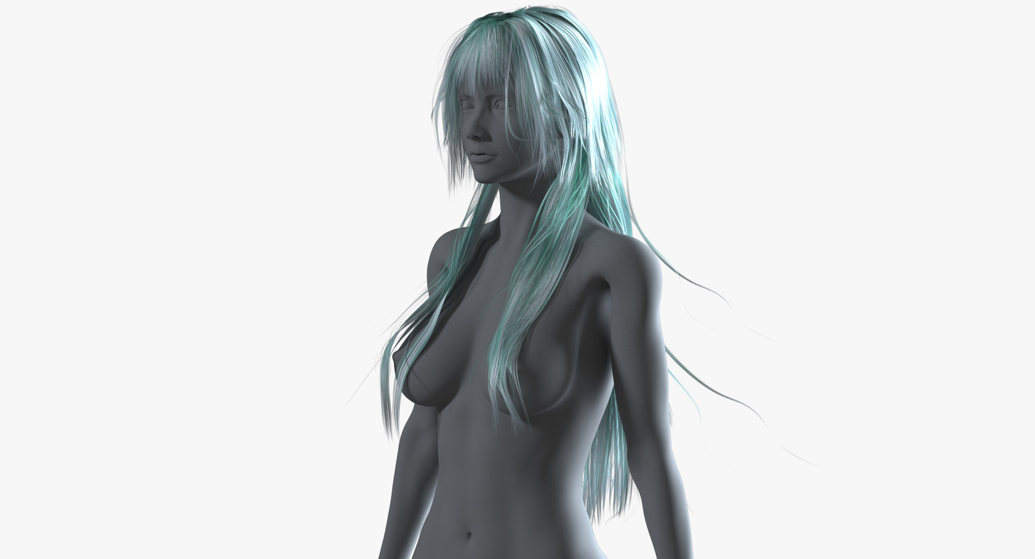 3D realistical long anime hairstyle model