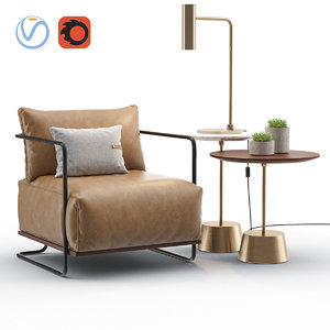 3D colin chair set model