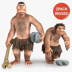 3D cartoon neanderthal character