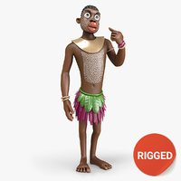 papuan man rigged 3D model