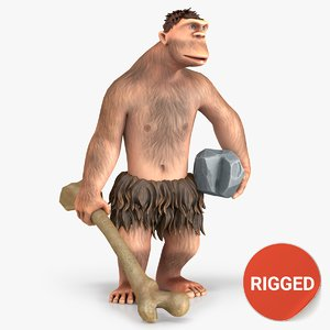 3D cartoon neanderthal character rigged
