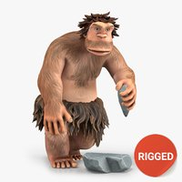 Cartoon Neanderthal Character Rigged2