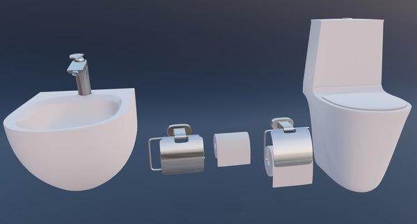 3D model toilet bathroom bath