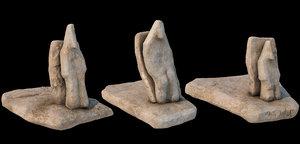 3D model stone totems kit pbr
