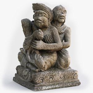balinese monkey family statue model