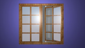 wooden window 3D model