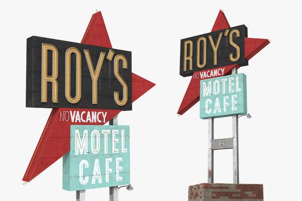 3D roys motel cafe sign