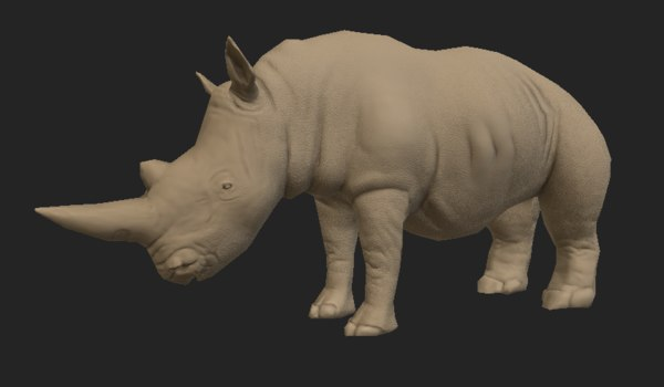 3D pbr black rhinoceros