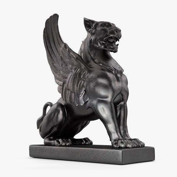 bronze griffin statue 3D model