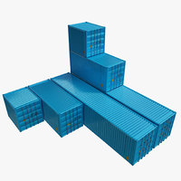 Cargo Container Set Low Poly PBR