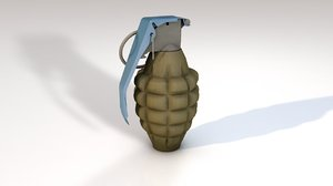3D grenade explosive bomb weapon model