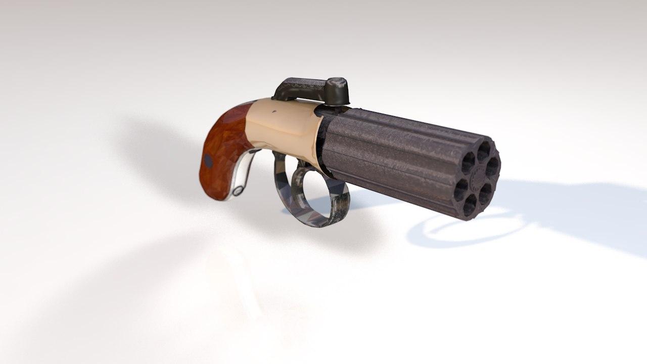 3D antique pepperbox pistol six-shot