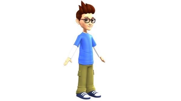 3D model cartoon young boy
