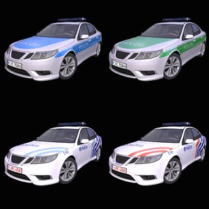 3D generic european police car model
